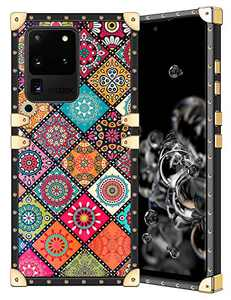 Coolden for Galaxy S20 Ultra Case Square Glitter Edges Stylish Luxury Totem Pattern for Women Girls Protective Corner Soft Slim TPU Shell Cover for Samsung Galaxy S20 Ultra 6.9 Inch Retro Mandala