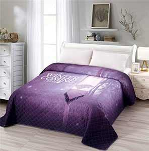 Vintage Quilted Bedspread Coverlet King Size 90x102 inches, Cold Tone Purple Medieval World European War Theme, Soft Breathable Quilt Bedding Lightweight Thin Blanket for Spring Summer (Letter,King)