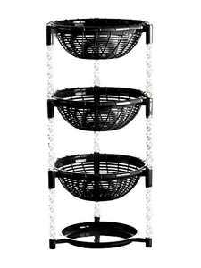 Uncluttered Designs Stacking Basket Bins (3 Tier+ Plate) for Kitchen Cabinet, Pantry, Closet, Bedroom, Bathroom Organization & Storage (Black)