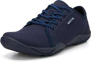 Men's Canvas Barefoot Sneakers Arch Support Zero Drop Sole Size 8 Minimus Casual Minimalist Tennis Sport Gym Workout Fitness Shoes Fashion Walking Flat Lightweight Comfortable Male Dark Blue 40