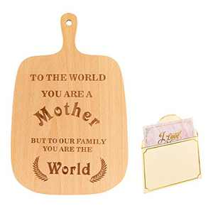 Biubee Mom Cutting Board- 13× 8.3 inches Mothers Day Engraved Bamboo Cutting Board Wooden Chopping Board with 1pcs Greeting Card for Mothers Day Gifts Housewarming Mothers Birthday Mom Grandma Gift