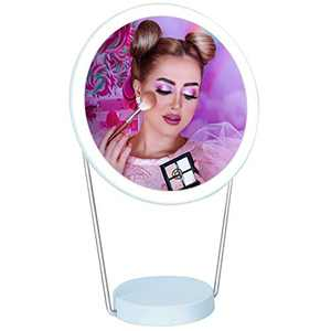 LED Lighted Makeup Mirror Rechargeable, 36 LEDs Vanity Mirror with Dimmable Touch Screen, 180 Degree Swivel Hanging Wall Mirror Portable Tabletop Mirrors