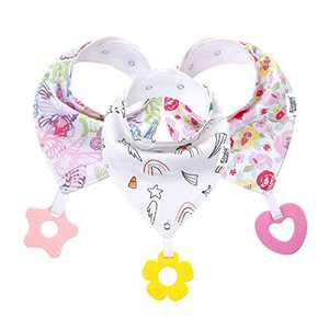 Baby Bandana Drool Bibs for Teething and Drooling - Baby Bibs for Girls - 3 Pack Super Absorbent Cotton Girls Bibs with Teething Toys Set