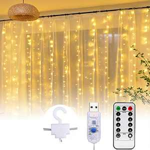 300 LED Curtain String Lights, 9.8ft x 9.8ft USB Powered Fairy Twinkle Lights for Wedding Party Home Garden Bedroom Outdoor Indoor Wall Christmas Decoration - Warmwhite