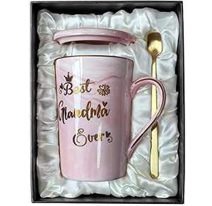 Doublewhale Gifts for Grandma - Best Gifts for Grandma - Best Grandma Ever Mug - Birthday Gifts for Grandma from Granddaughter Grandson - Marble Ceramic Coffee Mug 14Oz with Lid Pink