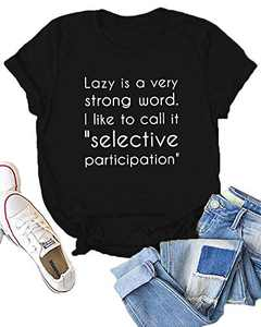 Dauocie Womens Lazy is A Very Strong Word Short Sleeve Letter Print T Shirt Casual Funny Graphic Tees Tops Black