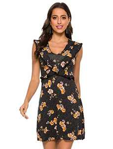 HXN Women's Casual V-Neck Summer Dress Floral Print Dresses for Beach Party