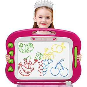 Wellchild Magnetic Drawing Board,Toddler Toys for Girls Boys 3 4 5 6 7 Year Old Gifts Large Etch A Magnet Sketch Colorful Erasable Doodle Pad with Carry Bag (DA002-Rose)