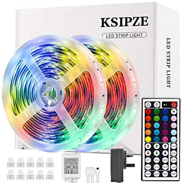LED Strip Lights, Ksipze 10m RGB LED Light Strip with Remote Colour Changing SMD 5050 LED Room Lights for TV Kitchen Home Party Christmas Decoration, Bright LEDs, Strong Adhesive (5Mx2)