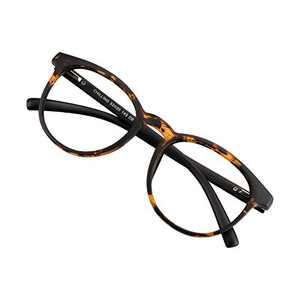 Blue Light Blocking Glasses for Women/Men, Anti Eyestrain, Computer Reading, TV Glasses, Stylish Oval Frame, Anti Glare(Dark Tortoise, No Magnification)