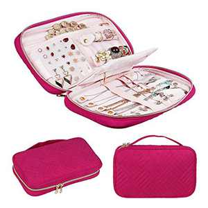 CREATIVE DESIGN Jewelry Organizer, Travel Jewelry Organizer Storage Bag Holder for Earring, Rings, Necklace,Bracelet,Watch and More (Rose Pink)