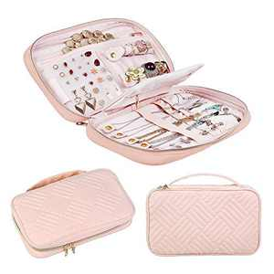 CREATIVE DESIGN Jewelry Organizer, Travel Jewelry Organizer Storage Bag Holder for Earring, Rings, Necklace,Bracelet,Watch and More (Light Pink)