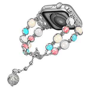 TILON Compatible for Apple Watch Band 38mm/40mm 42mm/44mm Series 6 5 4 3 2 1, Adjustable Wristband Handmade Night Luminous Pearl iWatch Bracelet with Essential Oil Pendant for Women-Updated