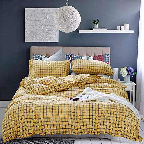 Wellboo Yellow Plaid Duvet Cover Buffalo Grid Bedding Cover Sets Queen Cotton Yellow Checkered Quilt Cover Geometric Check Adult Women Girls Bedding Gold Gingham Soft Durable with 2 Pillowcases