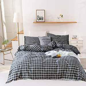 Wellboo Grey Plaid Duvet Covers Buffalo Plaid Queen Bedding Cover Sets Full Cotton Vintage Grid Check Quilts Adult Teens Women Dark Gray Geometric Bed Gingham Soft Breathable Warm Boys Beddings Full