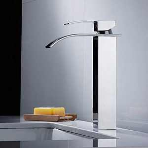 Bathroom Vessel Faucet Tall Waterfall Faucet with Wide Single Handle, Vessel Sink Bathroom Faucet with Large Rectangular Spout and Supply Hoses Chrome Finish