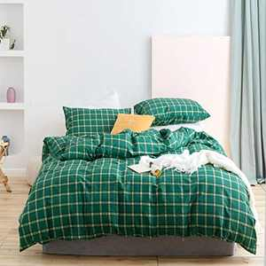 Wellboo Green Plaid Duvet Covers Buffalo Check Bedding Cover Set Queen Emerald Checkered Quilt Cover Cotton Green Grid Full Quilts Geometric Adult Women Girls Bedding Gingham Vintage Soft Durable Warm