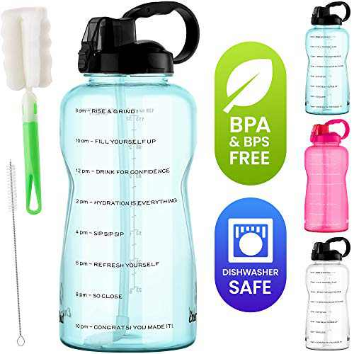 Motivational 1 Gallon Water Jug – Dishwasher-Safe BPS & BPA Free Tritan 128oz Water Bottle with Time Markers, Reusable Straw, Dust Cover, Wide-Mouth, Handle, 2 Cleaning Brushes, Gym by EnergyBud(Blue)
