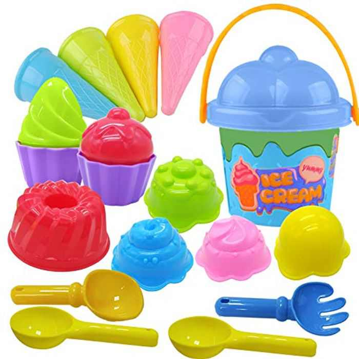 Tcvents 18PCS Beach Toys Bucket and Spade & Ice Cream Sandbox Mold Set with Mesh Bag,Assorted Colour Outdoor Sandpits Water Play Toys for children Kids Toddlers