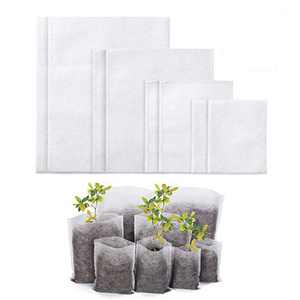 Delxo 400Pcs 4 Size Biodegradable Non-Woven Nursery Bags Plant Grow Bags Fabric Seedling Bags Home Garden Supply