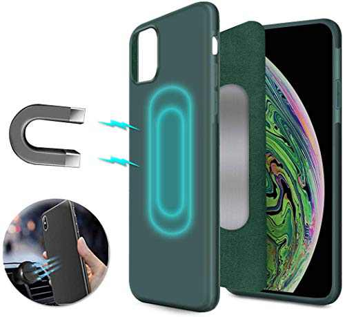 Magnetic Case for iPhone 11 Pro,[Support Magnetic Car Mount][Invisible Built-in Metal Plate] Magnet Case Ultra Thin Soft TPU Shockproof Anti-Scratch Protector Cover for iPhone 11 Pro, Green