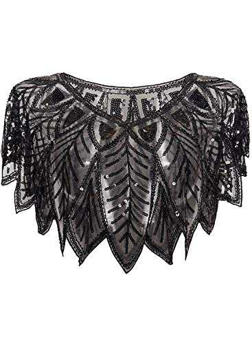 L'VOW 1920s Flapper Shawl for Women Roaring 20s Sequin Evening Cape Gatsby Costume Accessories (Black)