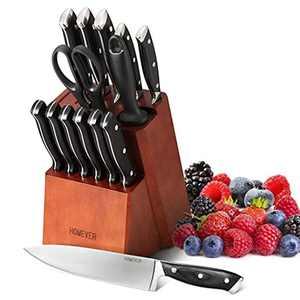 Homever Knife Sets, 15-Piece Kitchen Knife Set with Block Including Scissor and Self Sharpening Knife Sharpener, Japan Stainless Steel Knife Set