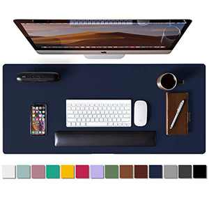 """Leather Desk Pad Protector,Mouse Pad,Office Desk Mat,Non-Slip PU Leather Desk Blotter,Laptop Desk Pad,Waterproof Desk Writing Pad for Office and Home(Dark Blue,31.5"""" x 15.7"""")"""