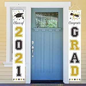 Dazonge Gold and Black Graduation Decorations 2021 | 'Class of 2021' & 'Congrats Grad' Porch Signs for Graduation Party Supplies | Graduation Porch Decor