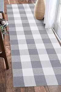 EARTHALL Buffalo Plaid Runner Rug Grey and White 2'x6', Buffalo Check Rug Runner Hallway Entry Carpet, Cotton Hand-Woven Washable Outdoor Rug Runner Entryway/Front Porch/Bedroom (23.6''x70.8'')