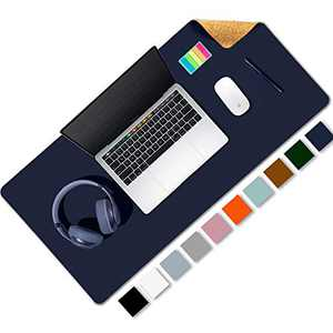 """Aothia Office Desk Pad, Natural Cork & PU Leather Dual Side Large Mouse Pad, Laptop Desk Table Protector Writing Mat Easy Clean Waterproof for Office Work/Home/Decor (Dark Blue,31.5"""" x 15.7"""")"""