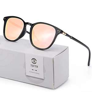 TJUTR Fashion Polarized Sunglasses for Women Mirrored Design Eyewear for Outdoor 100% UV Protection (Black Frame/Rose Gold Mirrored Lens)