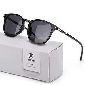 TJUTR Fashion Polarized Sunglasses for Women Mirrored Design Eyewear for Outdoor 100% UV Protection (Black Frame/Grey Lens(Non-Mirrored))