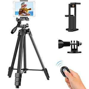 """TAIROAD Phone Tripod, Portable Lightweight Aluminum Travel Tripod with Carry Bag & Bluetooth Remote, 1/4"""" Mounting Screw for Mirrorless/DSLR Camera and 2 in 1 Clip for Smartphone and iPad"""