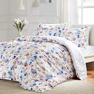 COTTONNEST Bedding Duvet Cover Sets 100% Luxury Cotton Floral Blossoms Printed Pattern Ultra Soft Breathable with YKK Zipper Closure 8 Corner Ties 2 Shams, Full/Queen,White