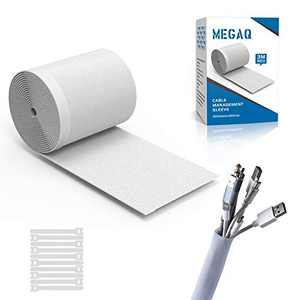 Cable Management Sleeves,MEGAQ Cable Tidy Cuttable Neoprene Cord Management Organizer System,3000mm130mm,DIY by Yourself, Adjustable Reversible Wire Hider,White