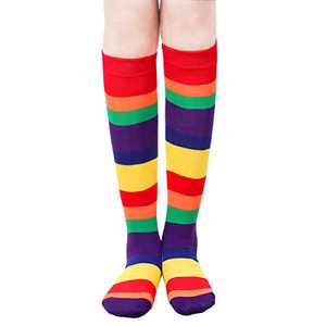 Womens Stripe Knee High Socks - Womens Casual Knee Socks Leg Warmer Cosplay Socks Colorful Rainbow Knee High Tube Socks