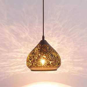 LBTSMUK Black Mini Pierced Pendant Light, Hanging Pedant Light Fixture with Black Hollow-Carved Shade, Industrial Retro Ceiling Pendant lamp for Living Room Kitchen Island Barn Dining Room Farmhouse