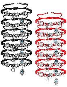 Adramata 12pcs Braided Kabbalah Bracelets Red/Black String Handmade Good Luck Friendship Bracelet Rotating Evil Eye Hamsa Hand Protection Bracelets for Women Men
