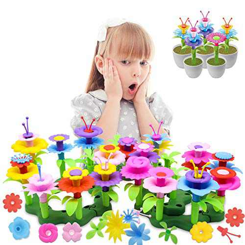 HOMILY 109 Pieces Flower Garden Building Toys for Girls, Preschool Craft Kits for Kids