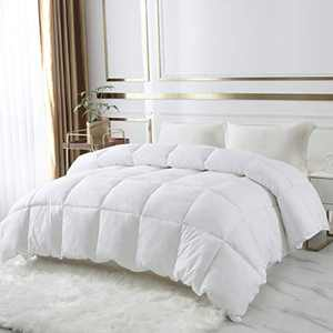 DROVAN 100% Cotton Quilted Down Comforter, Feather and Goose Duck Down Filling Duvet Insert, Soft Breathable for All Season, White, Queen (90 by 90 inches)