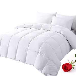 DOWNCOOL Down Comforter Feather Filling White Goose Duck Down Lightweight and Medium Warmth 100% Cotton Quilted All Season Duvet Insert Oversized Queen