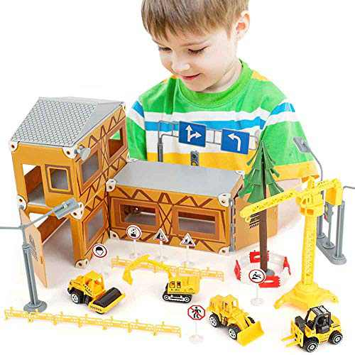 BeebeeRun Construction Toys for Kids - 122 PCS Kids Building Toys, Construction Vehicles Toys with Excavator, Bulldozer, Fork Truck, Tower Crane and Road Signs,Toy Cars for Boys Age 6-12