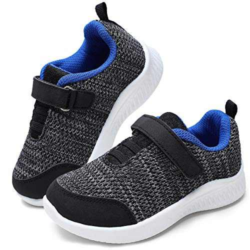 okilol Toddler Boy Shoes Athletic Tennis Shoes Toddler Sneakers for Trail Running,Walking,School Black/Gray/Blue 7 M US Toddler
