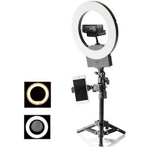 10inch 3200K~6500K Dimmable Selfie Ring Light with Mini Adjustable Light Stand,Makeup Mirror and Phone Holder, Perfect Desktop LED Lamp for Vlogs,YouTube Channel,Makeup
