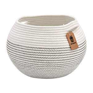 """Goodpick Cute Round Basket - Cotton Rope Baskets in Living Room Woven Towel Basket Bedroom Storage Bakset for Children Corner Plant Basket Indoor, White, 10""""D x 8.3""""H"""