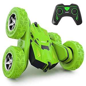 SGILE 4WD Remote Control Car for 6-12 Years Old Kids - 2.4Ghz 360° Double Side Flips RC Stunt Car Truck Toy Gift, Green