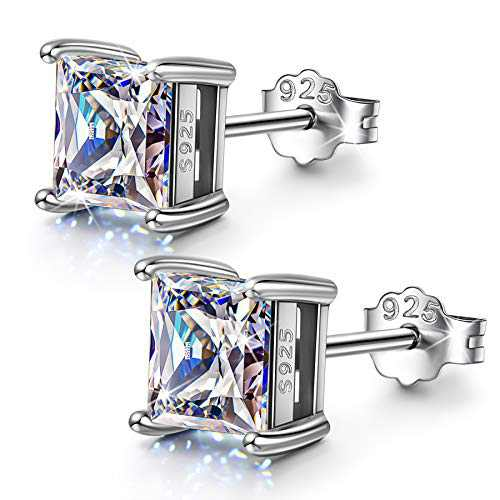Sterling Silver Stud Earrings for Women Men Jewelry Box Princess Cut 5A Cubic Zirconia Birthday Gifts for Her Him Mom Woman Wife Daughter Teen Girls Christmas Mothers Day Anniversary Graduation 4MM