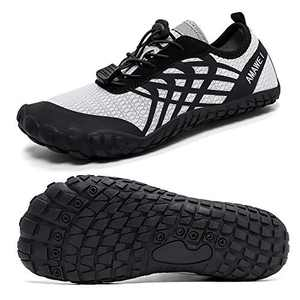 AMAWEI Water Shoes for Kids Boys Girls Lightweight Quick Dry Aqua Sock Athletic Sneakers Barefoot Beach Sport Shoes Swim Shoes(W16,Black/Grey,33)