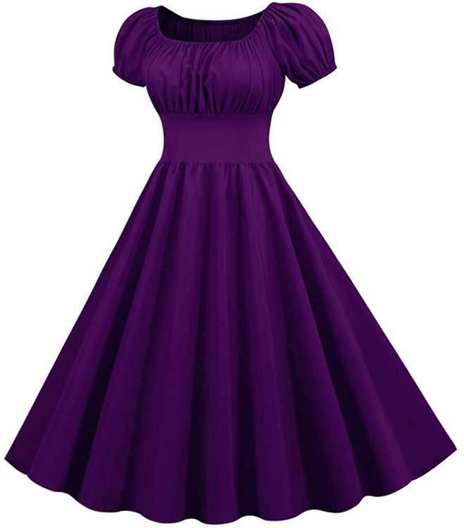 KPILP Womens Swing Mini Dress Slim fit Hepburn Vintage Fashion Evening Party Cocktail Flowy Dresses Solid Color Short Sleeve A-line Casual 1950s Retro Summer Dress